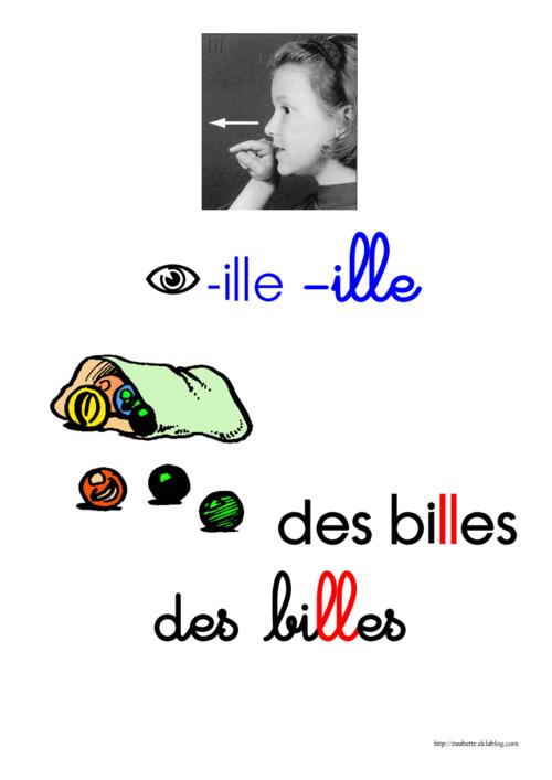 """Affiche de référence sur le son """"-ille"""", CP"""