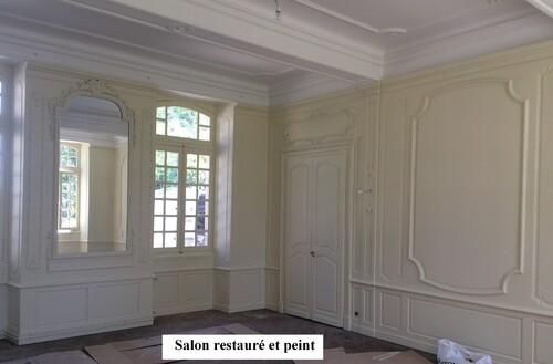 Salon du château - Restauration de boiserie  & gypserie d'époque (milieu 19ième)