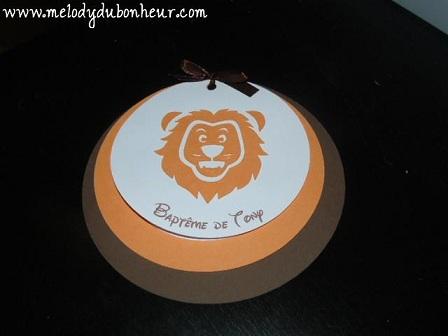 Prototype faire part rond thème lion