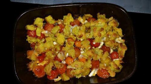 Entrée : Crumble aux tomates cerises