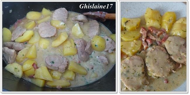Filet mignon de porc aux 2 pommes, cidre et lardons