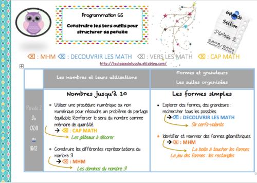 Prog math GS période 2 mix 3 méthodes + MHM