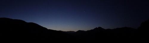 Aube, croisant de Lune  et Vénus sur la Sposata