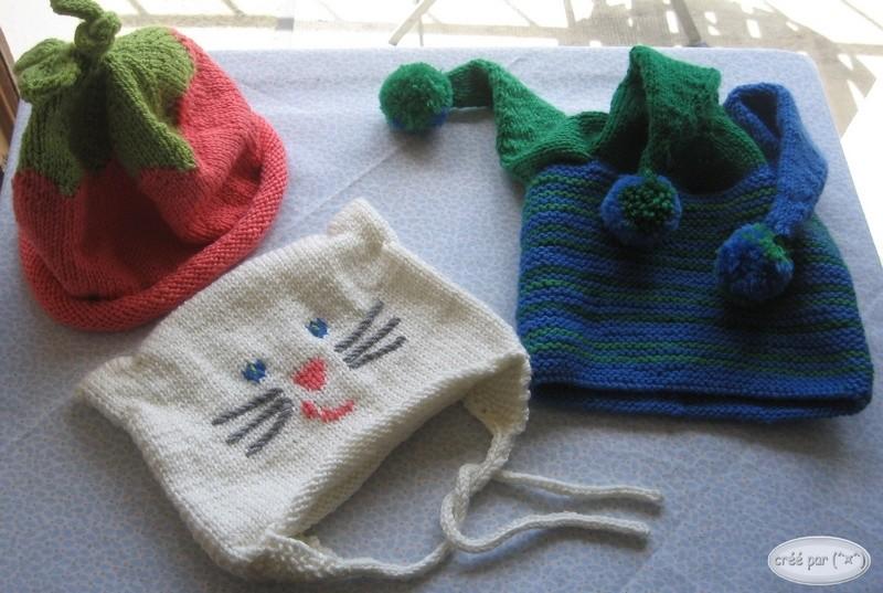3 bonnets : lutin, fraise, chat