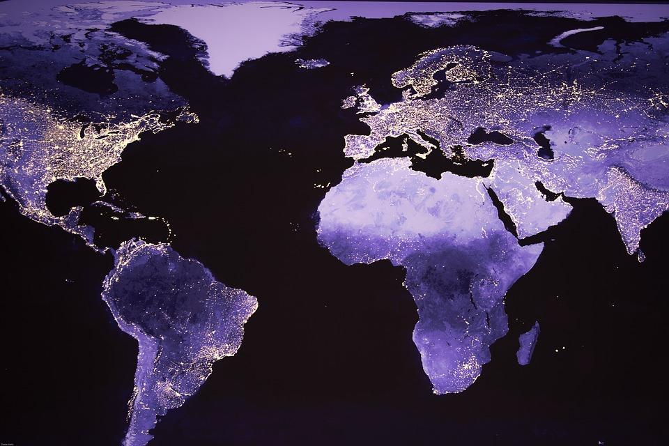Monde, Photo De Nuit, Image Satellite, Feux, Nuit