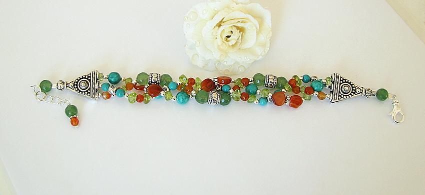 Bracelet Tressé Pierres d'Aventurine, Cornaline, Turquoise de Chine, Péridot  /  Plaqué argent