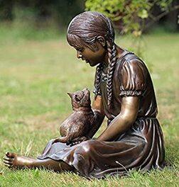 H.Packmor GmbH Sculpture en bronze pour fille assis avec chat – Décoration  pour la maison et le jardin – 62 x 55 x 45 cm: Amazon.fr: Cuisine & Maison