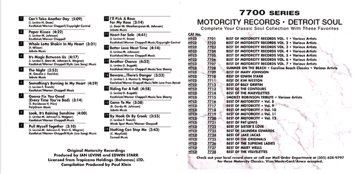 """Marv Johnson : CD """" The Very Best Of The Motorcity Recordings """" Motorcity Records HTCD 7709-2 [ US ]"""