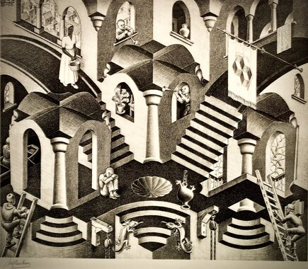 Maurits Cornelis Escher : Convex and Concave (1955)