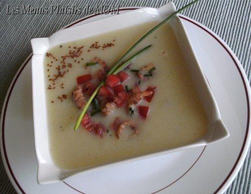 Velouté asperges salsa crevettes 1