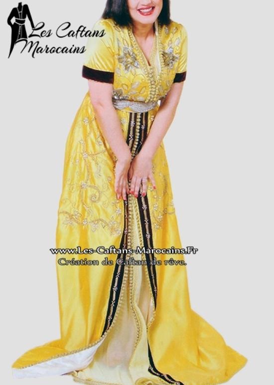 Takchita marocaine 2015 jaune pour mariage oriental à petit prix et sur mesure TAK S928