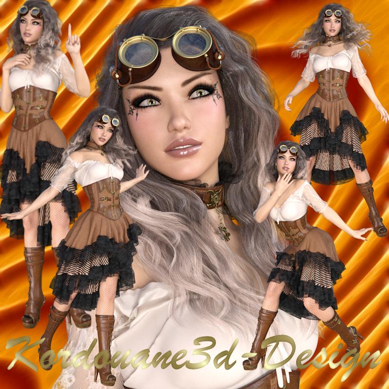 Fantine : Femme Steampunk (image png-tube)