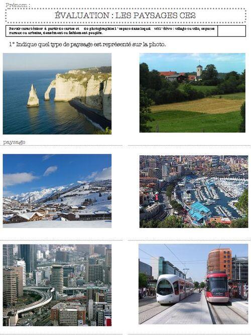évaluation paysages - ce2
