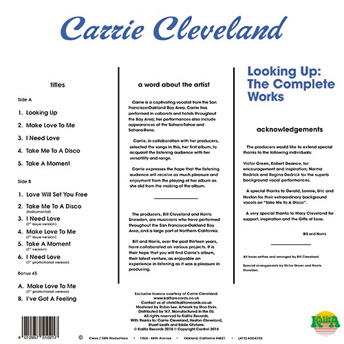 "Carrie Cleveland : Album "" Looking Up  The Complete Works "" Kalita Records KALITALP002 [ UK ]"