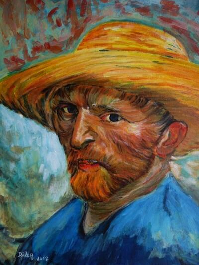 Autoportrait au chapeau de paille de Van Gogh
