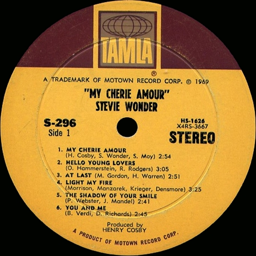 "Stevie Wonder : Album "" My Cherie Amour "" Tamla Records TS 296 [ US ]"