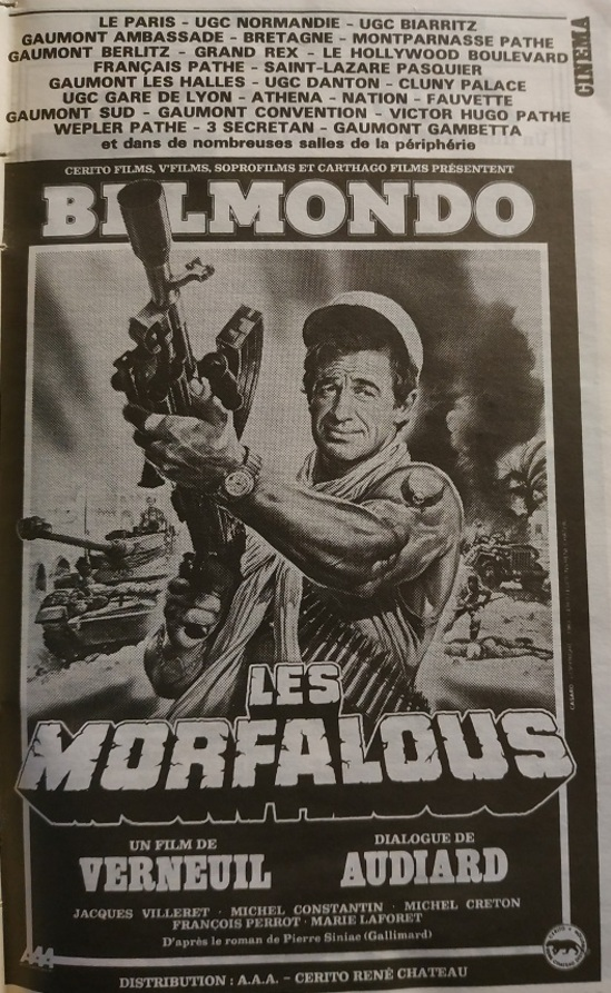 LES MORFALOUS  POSTER 1984 - JEAN PAUL BELMONDO BOX OFFICE 1984
