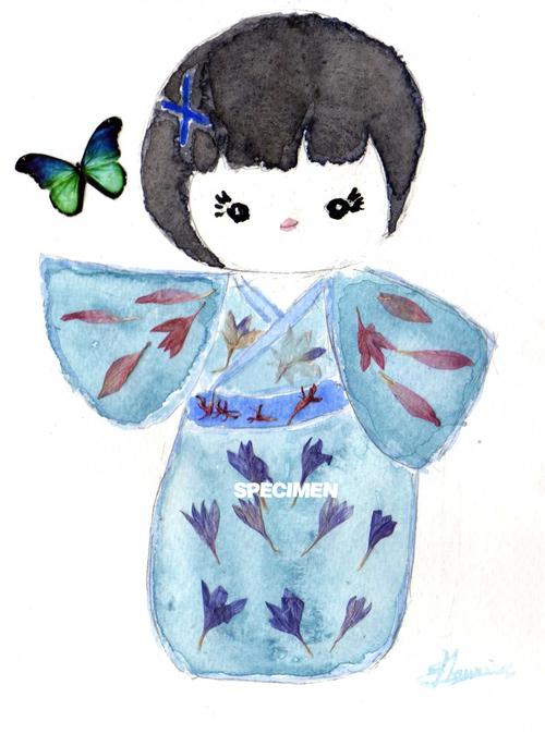 Aquarelle  : Poupée kokeshi bleue