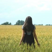Image de blue, girl, and field
