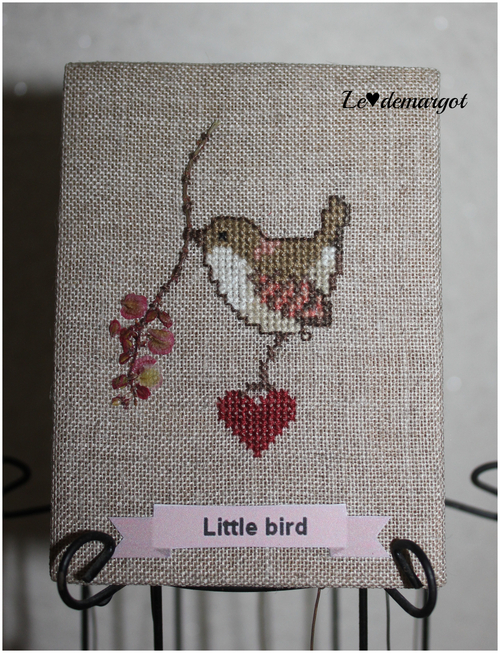 "ATC brodée ""Little bird"""