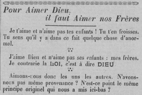 Encart - Pour Aimer Dieu... (Le Fraterniste, 29 août 1912)