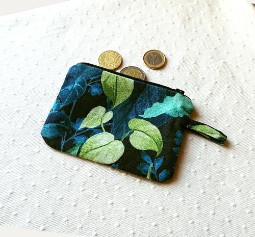 Petit Porte-monnaie tissu toile coton imprimé feuillage bleu-vert 12 x 8,5 cm, fermeture à glissière