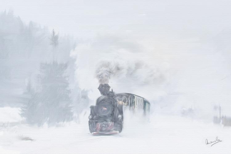 train dans la tempête de neige