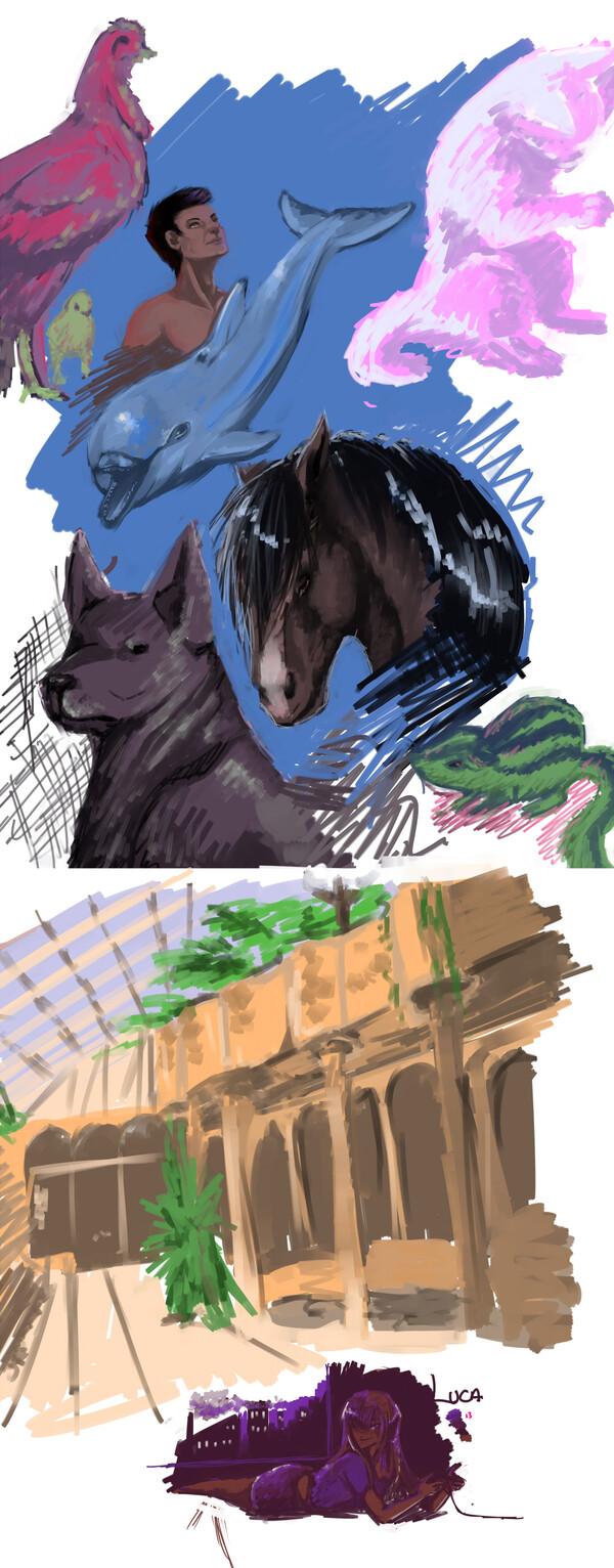 Juillet 2014 croquis digital poule dauphin LUCA homme painting chaton souris écureil paysage palette meme