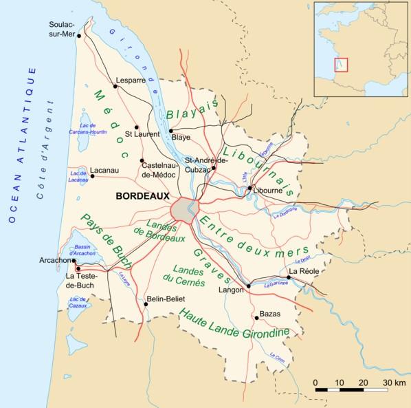 carte département de la Gironde