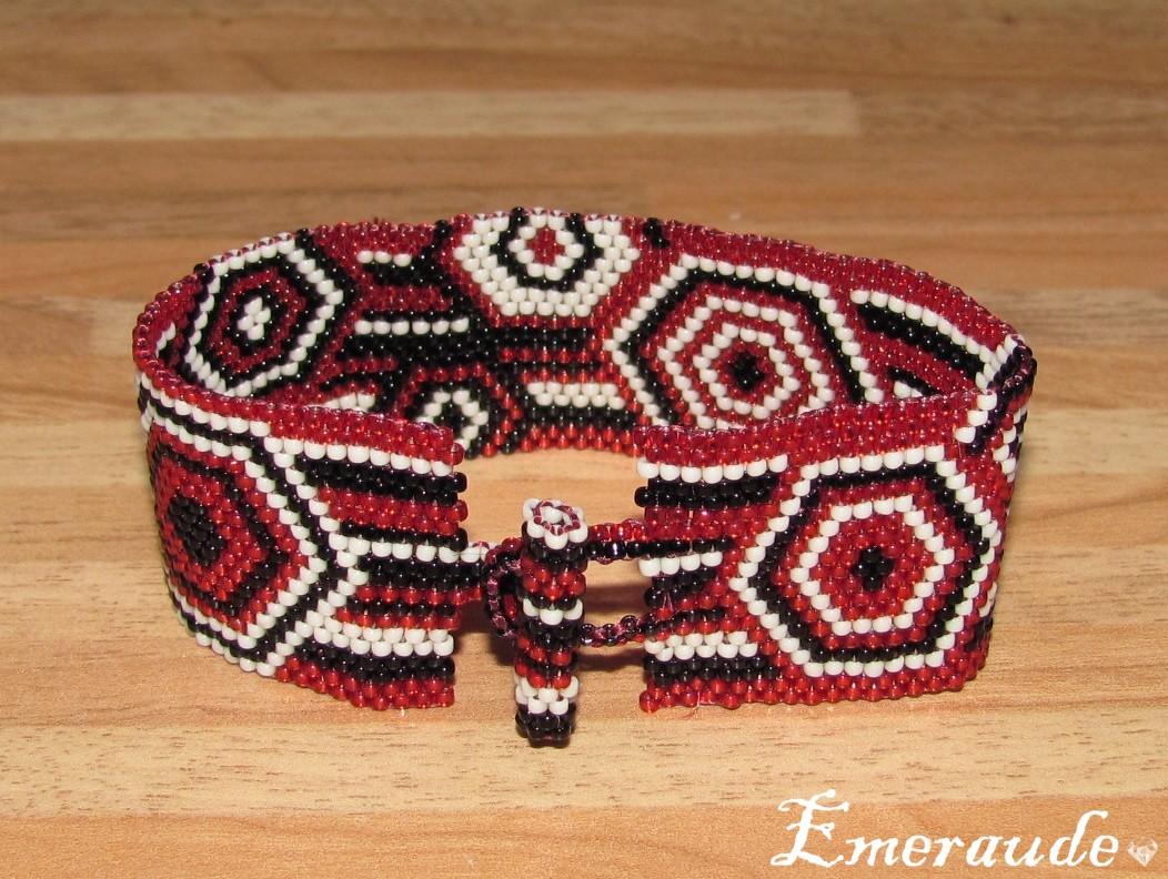 Tissage peyote: bracelet géométrique à hexagones