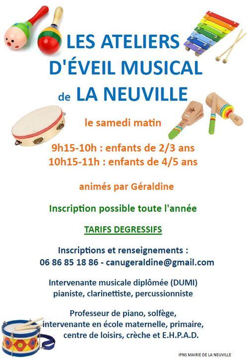 Nouveau : Atelier musical pour les 2/5 ans à La Neuville