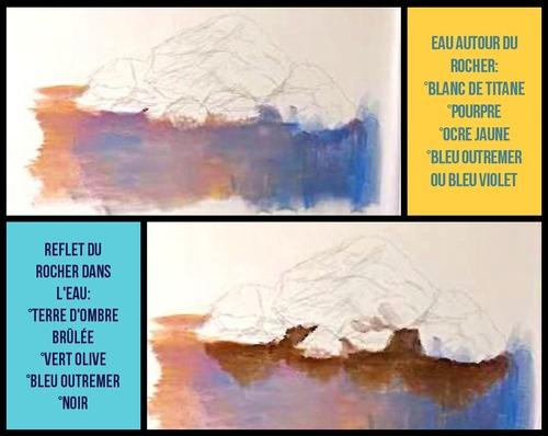 Dessin et peinture - vidéo 3392 : Comment peindre des rochers et leurs reflets dans l'eau ? - acrylique ou huile