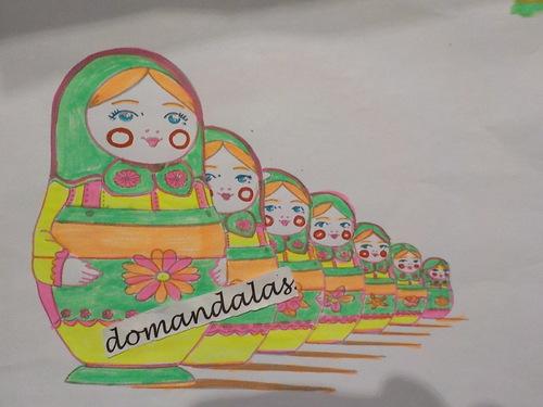 DOMANDALAS  coloriage poupée russe seule et en famille ou  matrouska