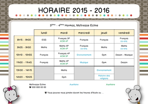 Horaire version 2015 - 2016