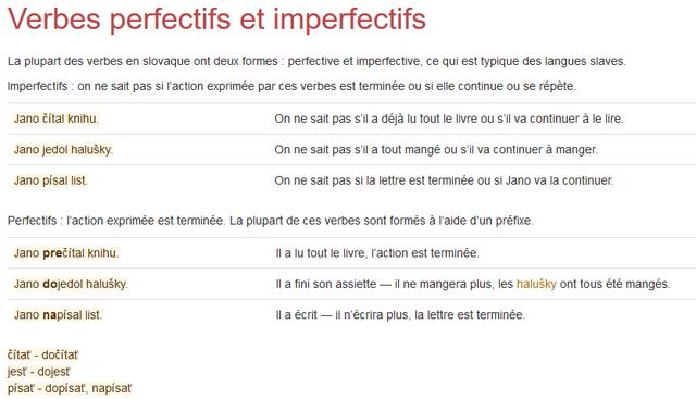 Les verbes perfectifs et imperfectifs
