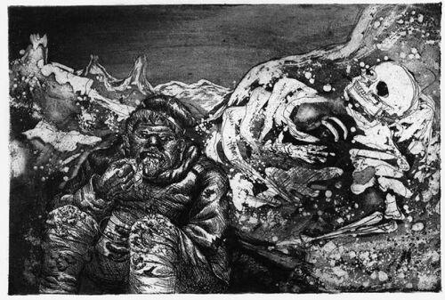 Otto Dix, Mahlzeit in der Sappe(Lorretohöhe) Le Repas dans la sape (Lorette), 1924 aquatinte, 35,3 x 47,5 cm