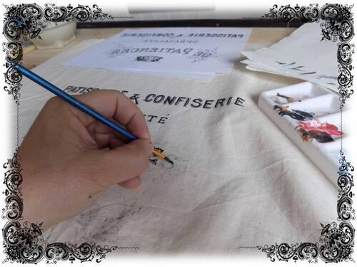 torchon en création : peinture textile