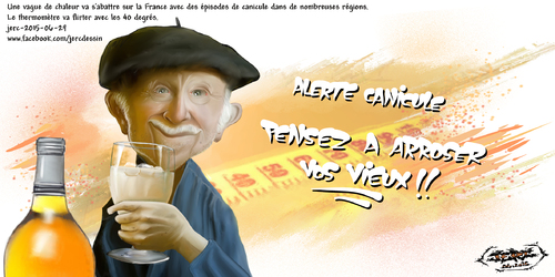 dessin de JERC du Lundi 29 juin 2015 caricature canicule. Ca y est, il fait 30° à Paris et c'est l'alerte canicule. www.facebook.com/jercdessin