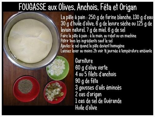 FOUGASSE aux Olives, Anchois, Féta et Origan