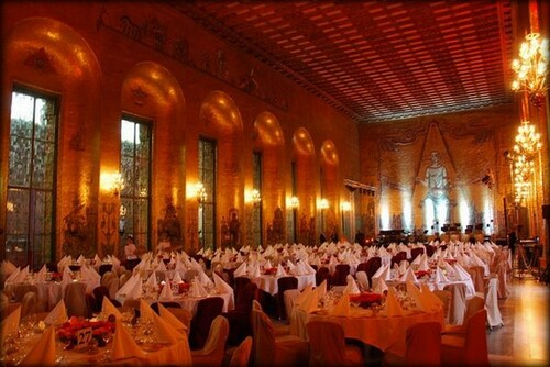 La salle d'or lors du banquet du prix Nobel