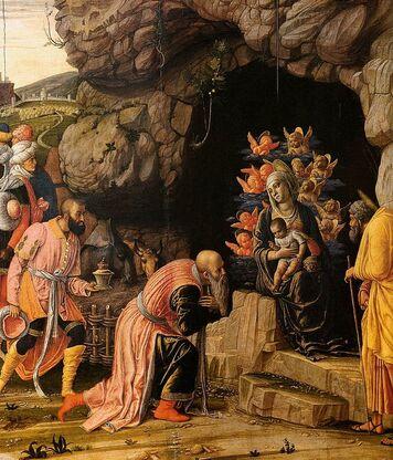 Tableau en couleur. Trois hommes déférents observent un bébé porté par une femme entourée d'anges.