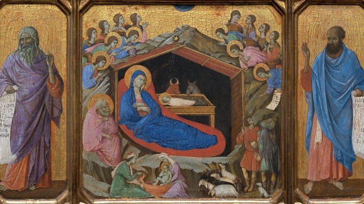 Représentation de la Nativité, entre les prophètes Isaïe et Ézéchiel
