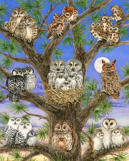 """Owl Tree"" whimsical watercolour by Tracy Lizotte. See all of her beautiful owl prints available here -->"