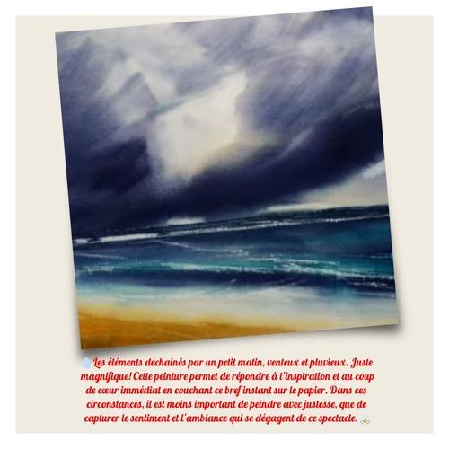 Dessin et peinture - vidéo 3339 : Comment peindre la mer sous un ciel d'orage ? - aquarelle.