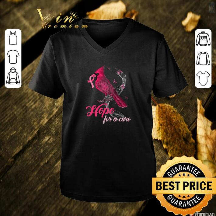 Premium Cardinal bird hope for a cure Breast Cancer Awareness shirt