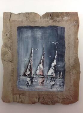 Planches a Voile abstrait sur tableau en bois flotté