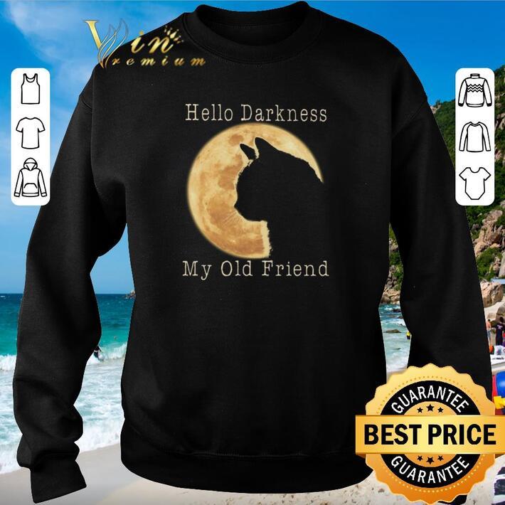Original Cat moon Hello darkness my old friend shirt