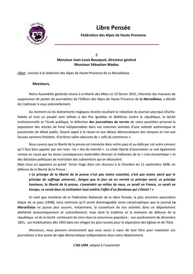 Lettre à la rédaction de La Marseillaise