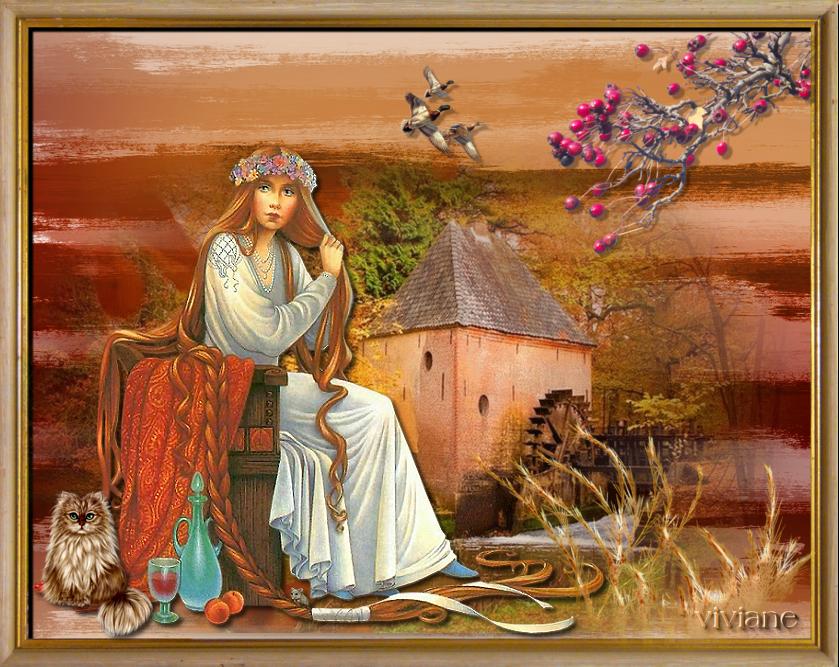 Le vieux moulin et bouquet d' automne