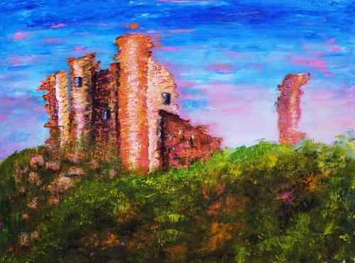"""289."""" Les murs fantômes d'Occi"""".Acrylique sur  toile de 0,80 x 0,60. Aout 2012"""